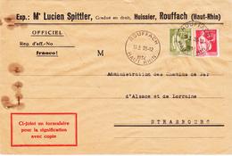 Env Pour Signification Avec Copie Affr Y&T 283 + 284A Obl ROUFFACH Du 20.12.1934 Adressée à Strasbourg - Marcophilie (Lettres)
