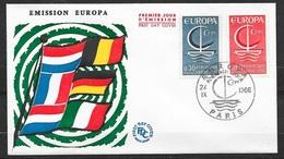 FDC Lettre Premier Jour Cachet  Paris Le 24/09/1966 Les N°1490 Et 1491 Europa 1966     TB..soldé Moins De 20 % ! ! - Europa-CEPT