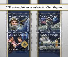 SAO TOME 2018 MNH** Alain Shepard Apollo Space Raumfahrt Espace M/S - OFFICIAL ISSUE - DH1816 - Space
