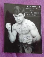 PHOTO BOXE DEDICACEE : AZZARO D. Champion De France 1967, Catégorie Léger - Boxing