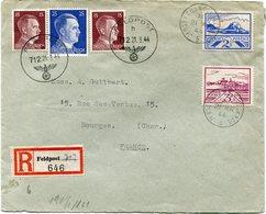 JERSEY OCCUPATION ALLEMANDE LETTRE RECOMMANDEE CENSUREE AFFRANCHISSEMENT MIXTE DEPART JERSEY CHANNEL ISLANDS 21 MR 44... - Jersey
