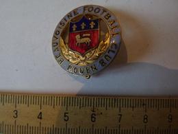 Insigne Décoration Broche Ancienne émaillée  Blason écusson Football Club Rouen Beauvoisine Fleur De Lys - Army & War