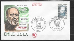 FDC Lettre Premier Jour Cachet Paris Le 04/02/1967 Le N°1511 Emile Zola 38    TB..soldé Moins De 20 % ! ! - Escritores