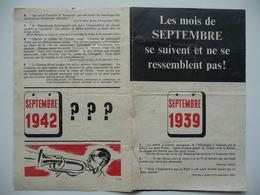 WWII WW2 Tract Flugblatt Propaganda Leaflet In French, PWE F Series/1942, F.124, Les Mois De Septembre Se Suivent Et... - Oude Documenten
