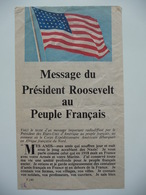 WWII WW2 Tract Flugblatt Propaganda Leaflet In French, PWE F Series/1942, F.140, Message Du Président Roosevelt... - Alte Papiere