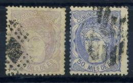 Spagna 1870 Mi. 100-101 Usato 80% Spagna - 1868-70 Provisional Government