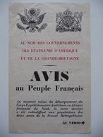 WWII WW2 Tract Flugblatt Propaganda Leaflet In French, PWE F Series/1942, F.141, AVIS Au Peuple Français (Warning) - Oude Documenten