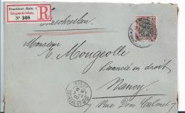 RP002 / Germania Reichspost 40 Pfg. Mit Firmenlochung J.D.C. Auf Einschreiben   Ex Frnkfurt A,M Nach Nancy, Frankreich - Allemagne