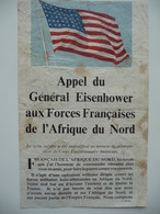 WWII WW2 Tract Flugblatt Propaganda Leaflet In French, PWE F Series/1942, F.142(b), Appel Du Général Eisenhower... - Old Paper