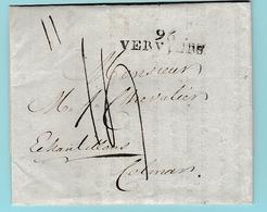 Dép.3  96 Verviers (36mm) L Du 31.7.1805 Avec Texte Imprimé.  Pour Colmar - Marcophilie (Lettres)
