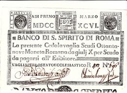 Stato Pontificio, Cedola Vaglia Scudi 89 Moneta Romana. Vaglia Per Lo Stato Ecclesiastico 1 Marzo 1796 - Vaticano
