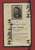 Faire-part De Décès - (1945) Memento Monsieur Victor Piriou - Guipavas - Obituary Notices