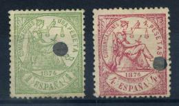 Spagna 1874 Mi. 142,143 Usato 80% Alegoria - 1870-72 Regency