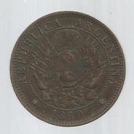 MONNAIE , Argentine , Republica ARGENTINA ,1890 , Dos Centavos, LIBERTAD , 2 Scans - Argentine