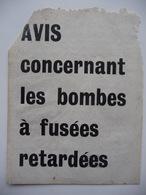 WWII WW2 Tract Flugblatt Propaganda Leaflet In French, PWE F Series/1943, F.149, Avis Concernant Les Bombes à Fusées... - Oude Documenten