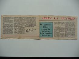 WWII WW2 Tract Flugblatt Propaganda Leaflet In French, PWE F Series/1943, F.157, APRES LA VICTOIRE - Oude Documenten