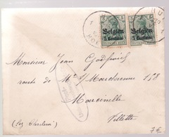 Guerre 1914 /1918.    2XN° OC2 Sur Enveloppe . See Scan - Weltkrieg 1914-18