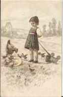 JOYEUSES PAQUES ENFANT KINDER POULE POUSSIN CHARIOT - Easter
