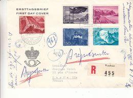 Liechtenstein - Lettre Recom De 1959 - Oblit Vaduz - 6 Cachets De Paris - Drapeaux - Châteaux - Valeur 55 € ++ - Liechtenstein