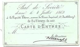CARTE PORCELAINE . BAL DE SOCIETE . PROPRIETE VILLONE . PARIS - Tickets D'entrée