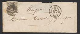 N°6 Bien Margé Sur Enveloppe-lettre Obl D56 + Obl DC Lens 26/1/1858 Vers Soignies - 1851-1857 Medallions (6/8)