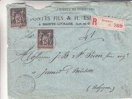 France - Lettre Recom De 1887 - Oblit Ste Livrade - Exp Vers Jumet - Cachet Agen à Paris - Agen à Limoges - 1876-1898 Sage (Type II)