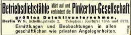 Original-Werbung/ Anzeige 1924 - PINKERTON DETEKTIVE - BERLIN - Ca. 100 X 25 Mm - Werbung