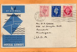 Imperial Airways First Flight UK To Canada 1939 Cover Mailed - Covers & Documents
