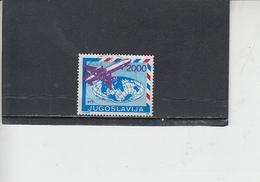 JUGOSLAVIA  1988 -  Unificato  2185° -  Serie Ordinaria - Aereo - 1945-1992 Repubblica Socialista Federale Di Jugoslavia