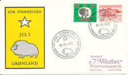 Greenland Cover With Special Christmas Postmark Sdr. Stömfjord 1-12-1972 And A Danish Christmas Seal - Grönland