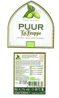 Étiquette Bière Puur La Trappe Organic Unfiltered Trappist  33 Cl Alc 4,7 % Vol (2018) + Back - Bière