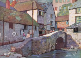 AL50 Roman Bridge, Polperro - Artist Signed Anne Croft, Linen - England