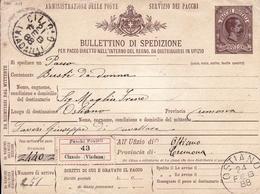 Bulletino Di Spedizione Pacchi Postale Italie Cizzolo 1888 Ostiano Cremona Umberto I - 1878-00 Umberto I