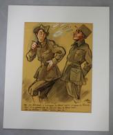 Dessin Original De Ferdinand Bac (1859-1952) 1945 Moi J'ai Demandé à Occuper La Forêt Noire à Cause Du Kirsch Militaires - Dessins