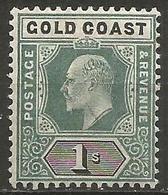 Gold Coast - 1902 King Edward VII 1s MH *    Sc 44  SG 44 - Gold Coast (...-1957)