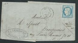 LAC AFFRANCHIE Par Yvert N° 60 Oblit   Gc 2046 ( Mal Venu )    , Cad  Lille En Nov 1871   Mala8407 - Postmark Collection (Covers)
