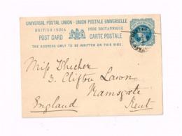 Entier Postal à 1,5 Anna.Expédié à Ramsgate (Kent) - India (...-1947)