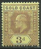 Gold Coast - 1909 King Edward VII 3d MLH *    Sc 60  SG 63 - Gold Coast (...-1957)