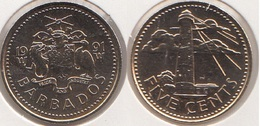 Barbados 5 Cents 1991 Km#11 - Used - Barbades