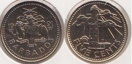 Barbados 5 Cents 1991 Km#11 - Used - Barbados