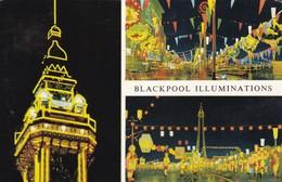 Postcard Blackpool Illuminations Views Of The Tower PU 1969 My Ref  B12070 - Blackpool