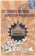 OBLIT. CONGRES  EXPO. PHILAT.  St ETIENNE 5/1950 - Marcophilie (Lettres)