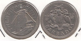 Barbados 25 Cents 1980 Km#13 - Used - Barbades