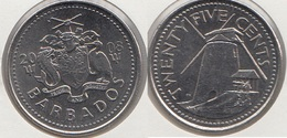 Barbados 25 Cents 2008 Km#13 - Used - Barbades