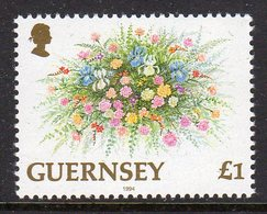 GUERNSEY - 1994 FLOWERS £1 STAMP EX PHILAKOREA SG MS644 FINE MNH ** - Guernsey
