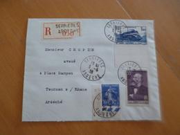 Lettre France Moderne Recommandé Serrières Pour Tounon 03/06/1938 3 TP Anciens - 1921-1960: Période Moderne