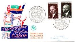 GABON. N°147-8 De 1959 Sur Enveloppe 1er Jour. Léon Mba. - Gabon (1960-...)