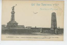 MILITARIA - REGIMENTS - VALMY - Statue De Kellermann Et Pyramide - Cachet Du 104ème REGIMENT TERRITORIAL D'INFANTERIE - Reggimenti