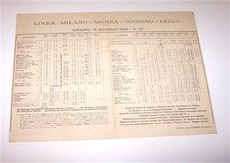 Ferrovie Linea Milano Monza Oggiono Lecco - Orario 15 Maggio 1933 - Unclassified