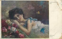 D1287 AK Hans Zatka Lady Butterflies Papilons  Edelrosen Roses - Schilderijen